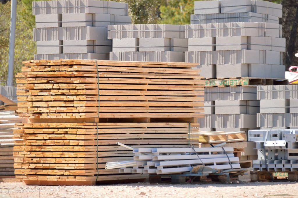 Construction supplies stacked outdoors