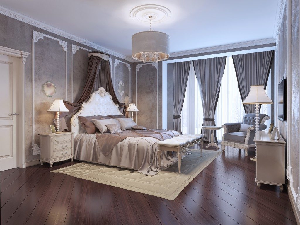 Luxurious bedroom with wallpaper