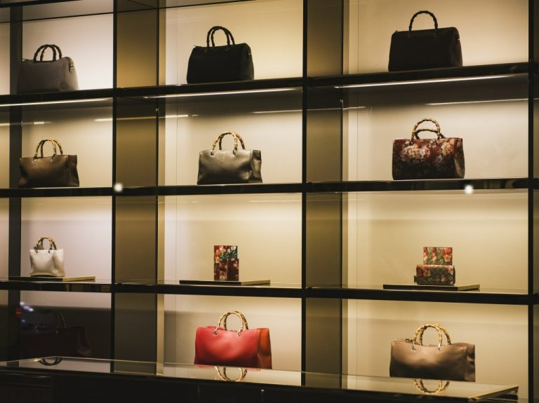Handbags in luxury fashion store
