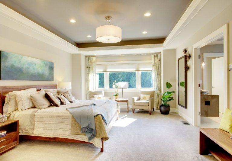 Beautiful bedroom interior in new luxury home