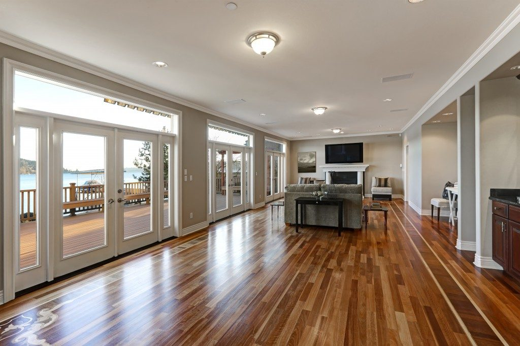 Interior of family room with hardwood floor