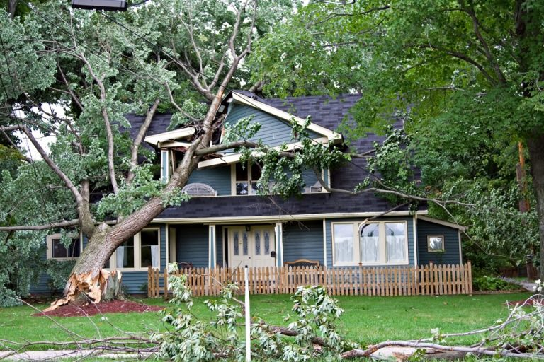 Home damaged by the storm