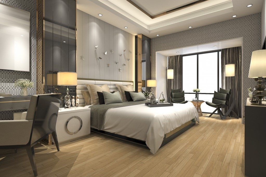 Modern interior of bedroom