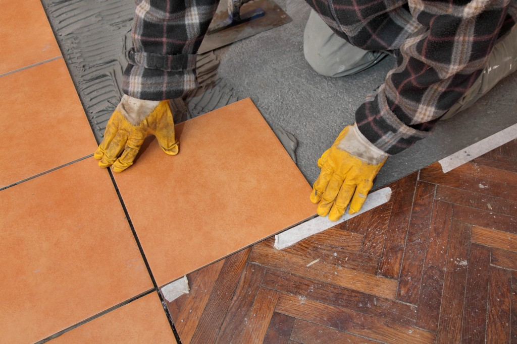 installation of new tiles