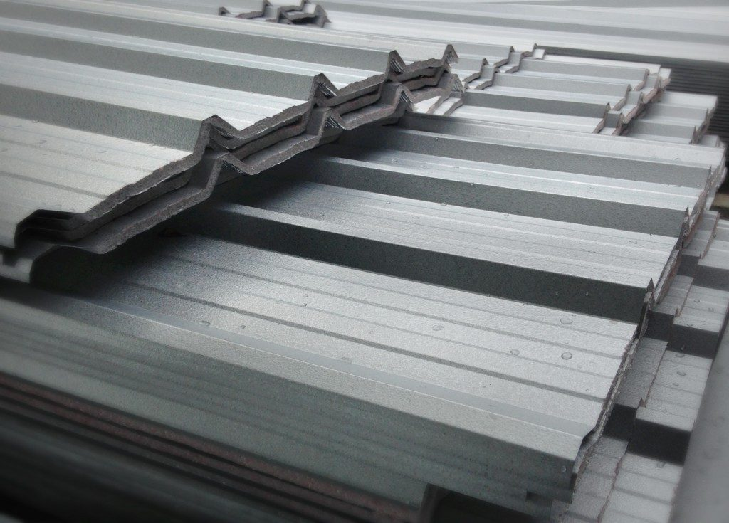 piled of metal roofing sheet