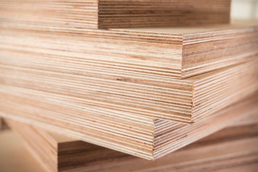Stacks of wood veneer