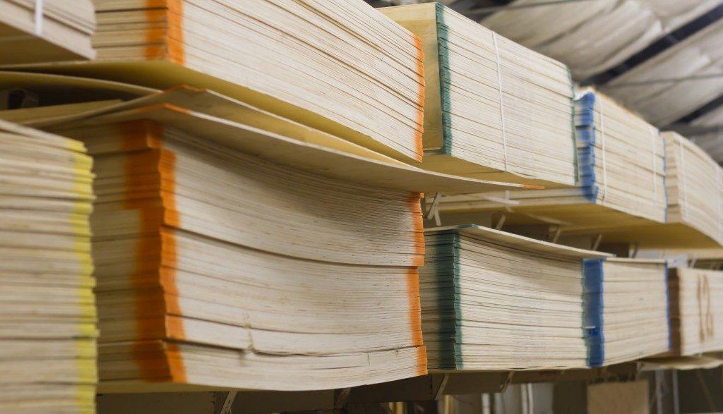 Shelves staked with wood veneer