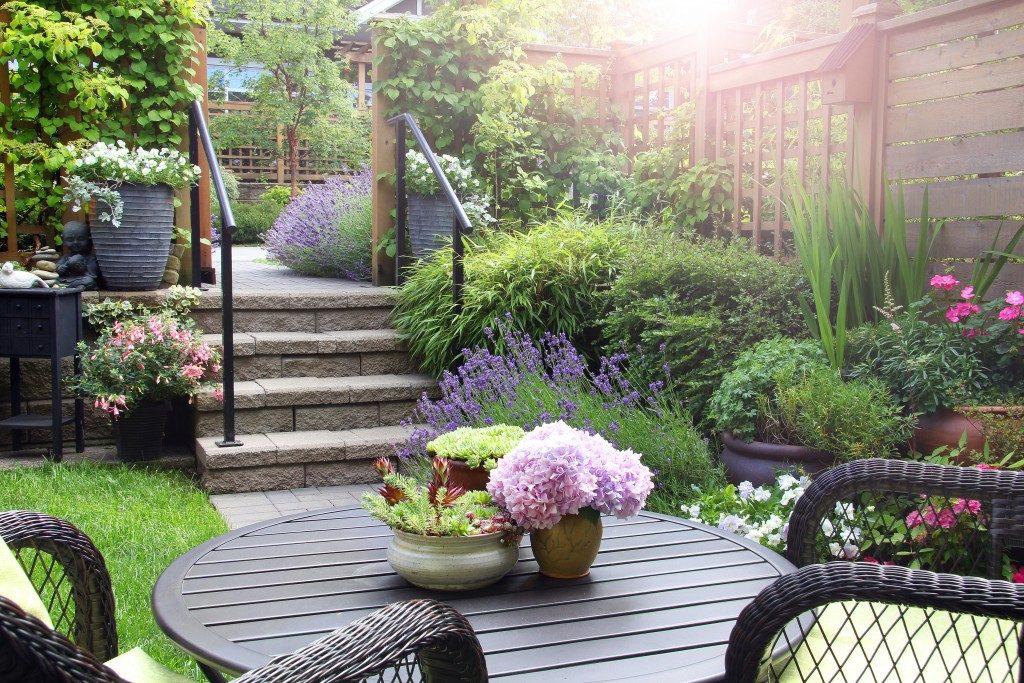 backyard with seating