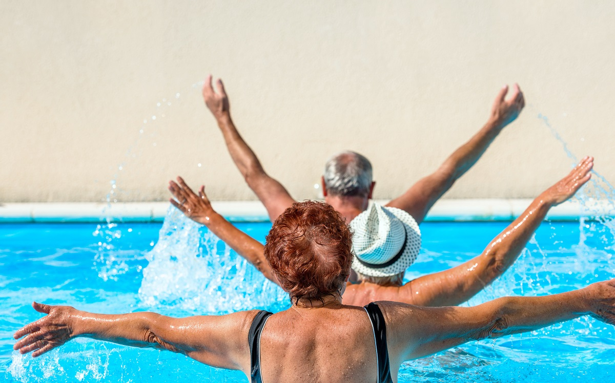 seniors at a swimming class