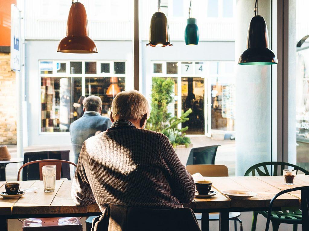 man at a cafe