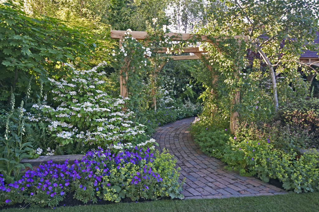 garden with a stone pathway